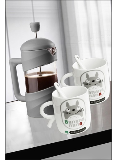 Kitchen Love 350 Ml French Press+2 Adet 7X9Cm (150 Ml).Porselen- Desenli -&Kaşıklı Mini Kupa Renkli